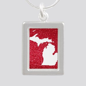 Michigan Silver Portrait Necklace