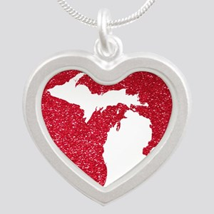 Michigan Silver Heart Necklace