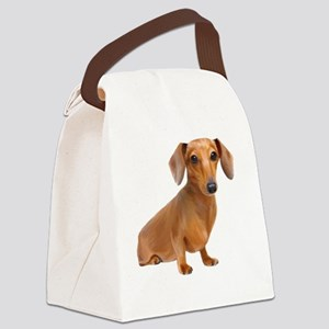 Red Painted Doxie Canvas Lunch Bag