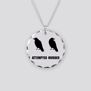 Attempted Murder Of Crows Necklace Circle Charm