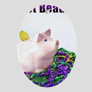 Got Beads? Mardi Gras Pig Oval Ornament