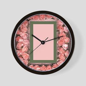 Pink Ribbon Roses Satin Picture Frame B Wall Clock