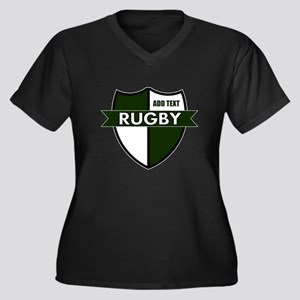 Rugby Shield White Green Women's Plus Size V-Neck