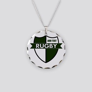 Rugby Shield White Green Necklace Circle Charm
