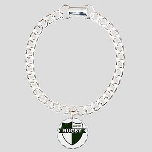 Rugby Shield White Green Charm Bracelet, One Charm