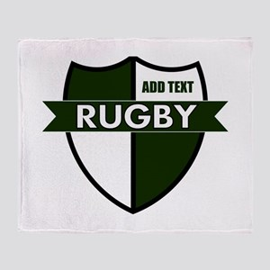 Rugby Shield White Green Throw Blanket