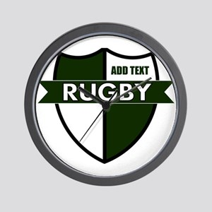Rugby Shield White Green Wall Clock