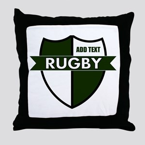 Rugby Shield White Green Throw Pillow