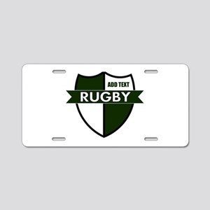 Rugby Shield White Green Aluminum License Plate