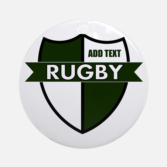 Rugby Shield White Green Ornament (Round)