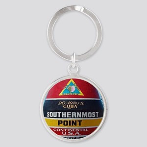 Key West Southern Most Point Monume Round Keychain