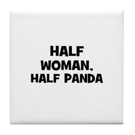 half woman, half panda Tile Coaster