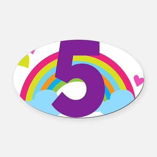 5th Birthday Girls Rainbow Oval Car Magnet