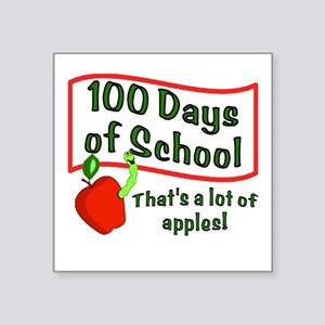 """100th Day Apple Square Sticker 3"""" x 3"""""""