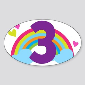 3rd Birthday Hearts and Rainbow Sticker (Oval)