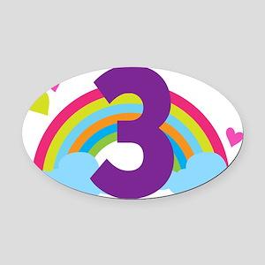 3rd Birthday Hearts and Rainbow Oval Car Magnet