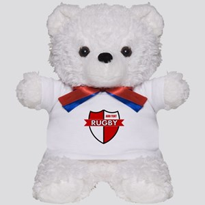 Rugby Shield White Red Teddy Bear