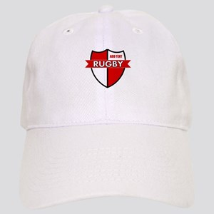 Rugby Shield White Red Cap