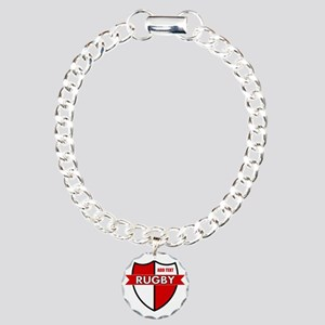 Rugby Shield White Red Charm Bracelet, One Charm