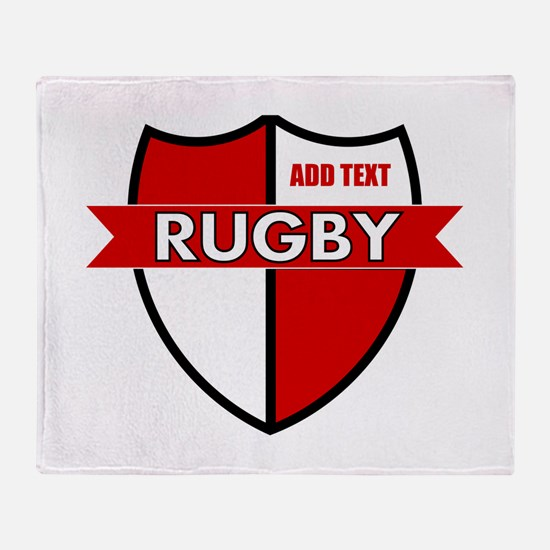 Rugby Shield White Red Throw Blanket