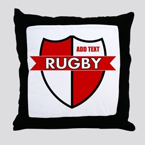 Rugby Shield White Red Throw Pillow