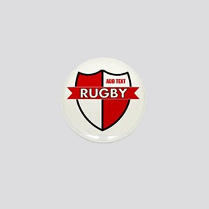Rugby Shield White Red Mini Button