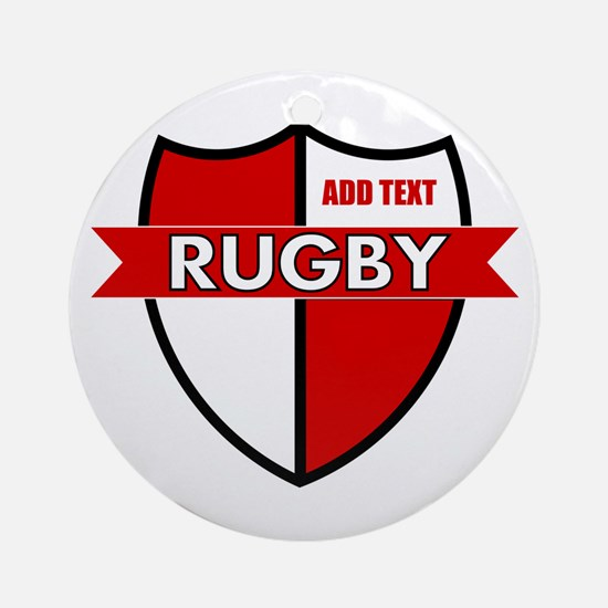 Rugby Shield White Red Ornament (Round)