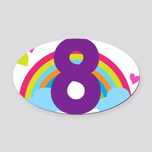 Rainbow 8th Birthday Oval Car Magnet