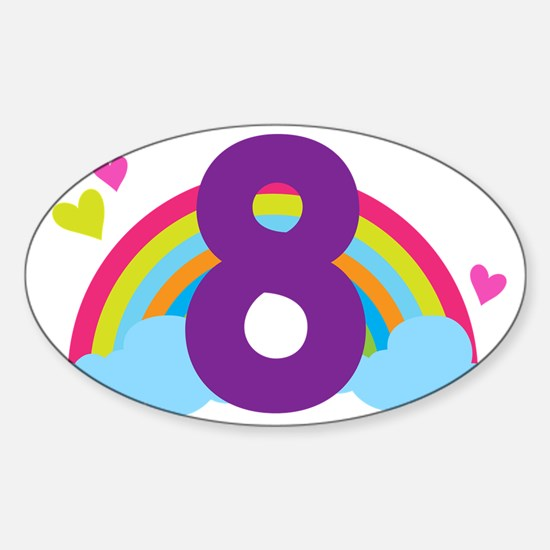 Rainbow 8th Birthday Sticker (Oval)