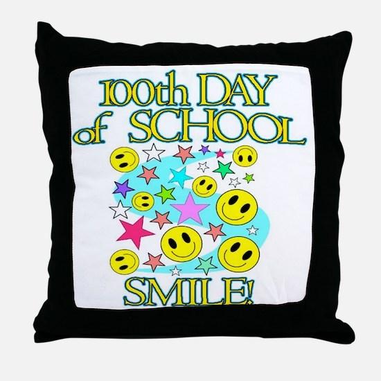 100th Day Smile Throw Pillow