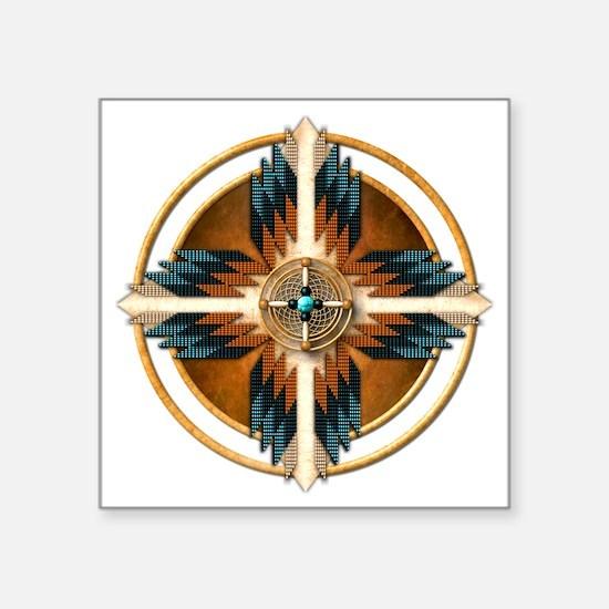 "Native American Mandala 02 Square Sticker 3"" x 3"""