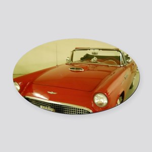 Red 1957 Ford Thunderbird Oval Car Magnet