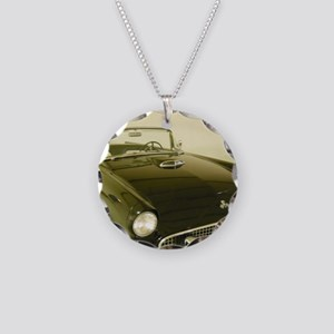 Black 1955 Ford Thunderbird Necklace Circle Charm