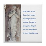 Serenity prayer and angels Tile Coaster