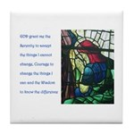 Serenity Prayer with Figure P Tile Coaster