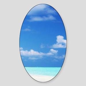 Tropical Beach Yoga Mat Sticker (Oval)