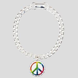 RainbowPeace1 Charm Bracelet, One Charm
