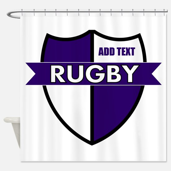Rugby Shield White Purple Shower Curtain