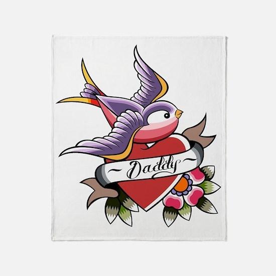 Tattoo heart daddy Throw Blanket