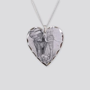 African Elephants Necklace Heart Charm
