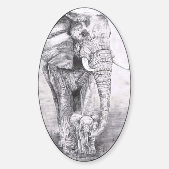 African Elephants Sticker (Oval)