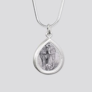 African Elephants Silver Teardrop Necklace