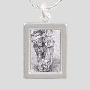 African Elephants Silver Portrait Necklace