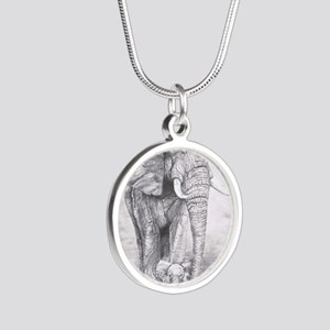 African Elephants Silver Round Necklace