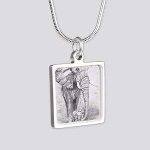 African Elephants Silver Square Necklace