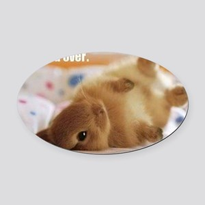 Cute bunny fell over  Oval Car Magnet