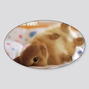 Cute bunny fell over  Sticker (Oval)
