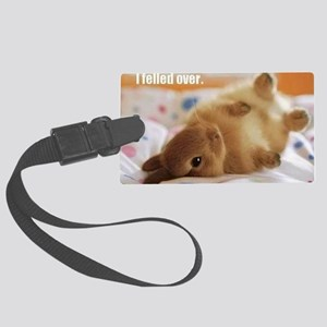 Cute bunny fell over  Large Luggage Tag