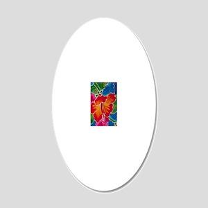 Orange Hibiscus 20x12 Oval Wall Decal