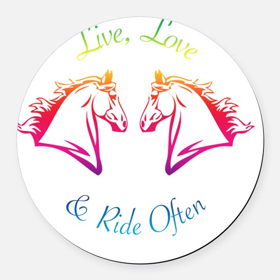 Ride OFten3rainbow Round Car Magnet